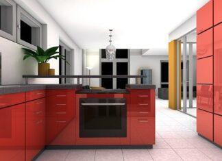 mieszkanie w bloku czerwona kuchnia